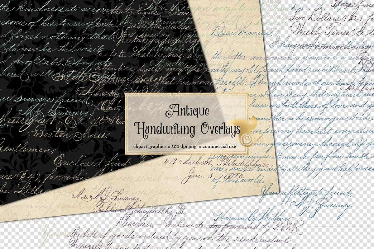 Antique Handwriting Overlays in Illustrations - product preview 8