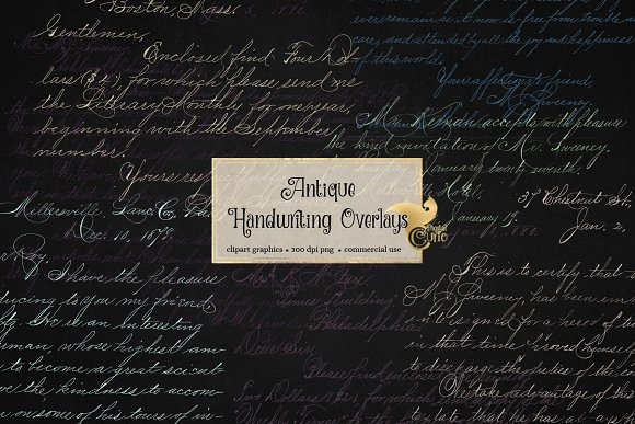 Antique Handwriting Overlays in Illustrations - product preview 2