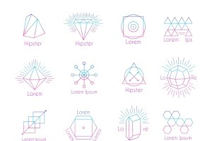 Hipster logos with geometric shapes