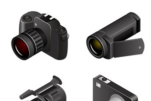 Vector Camera. Photos and videos 3d