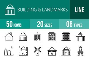 50 Buildings & Landmarks Line Icons