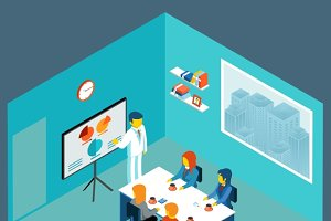 Isometric 3d business meeting