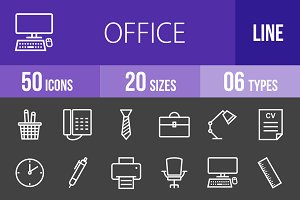 50 Office Line Inverted Icons