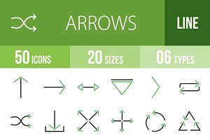 50 Arrows Green & Black Icons