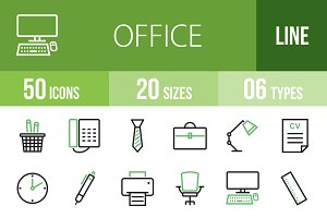 50 Office Green & Black Icons