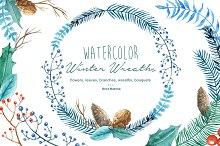 Winter Wreaths Watercolor Cliparts