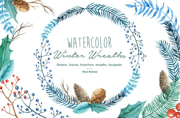 Winter Wreaths Watercolor Cliparts Illustrations