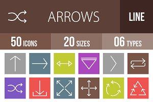 50 Arrows Line Multicolor Icons