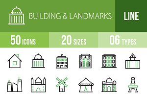 50 Buildings&Landmarks Green & Black