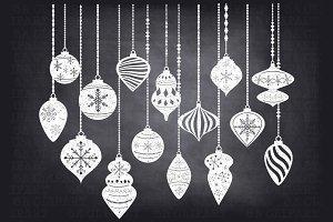 ChalkboardChristmas OrnamentsClipArt