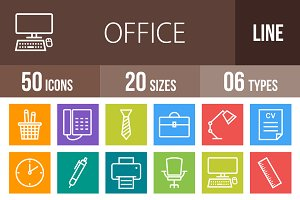 50 Office Line Multicolor Icons