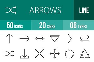 50 Arrows Line Icons