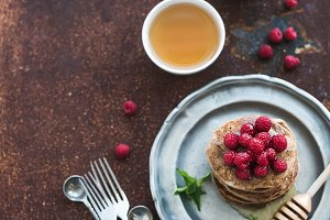 Buckwheat pancakes with raspberries