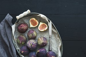 Vintage metal tray of fresh figs