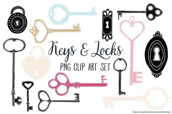 Keys Clip Art Antique Key Clipart Illustrations Creative Market