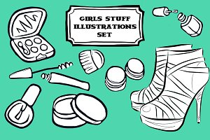 Girl stuff illustrations pack.