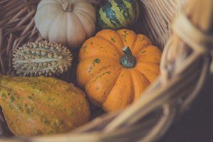 Pumpkins in a wicker basket
