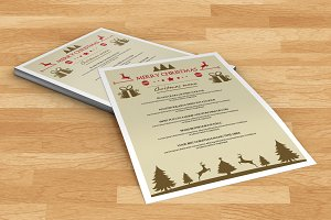 Christmas party menu template-V103