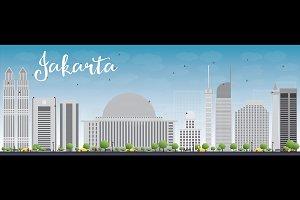 Jakarta skyline with grey landmarks