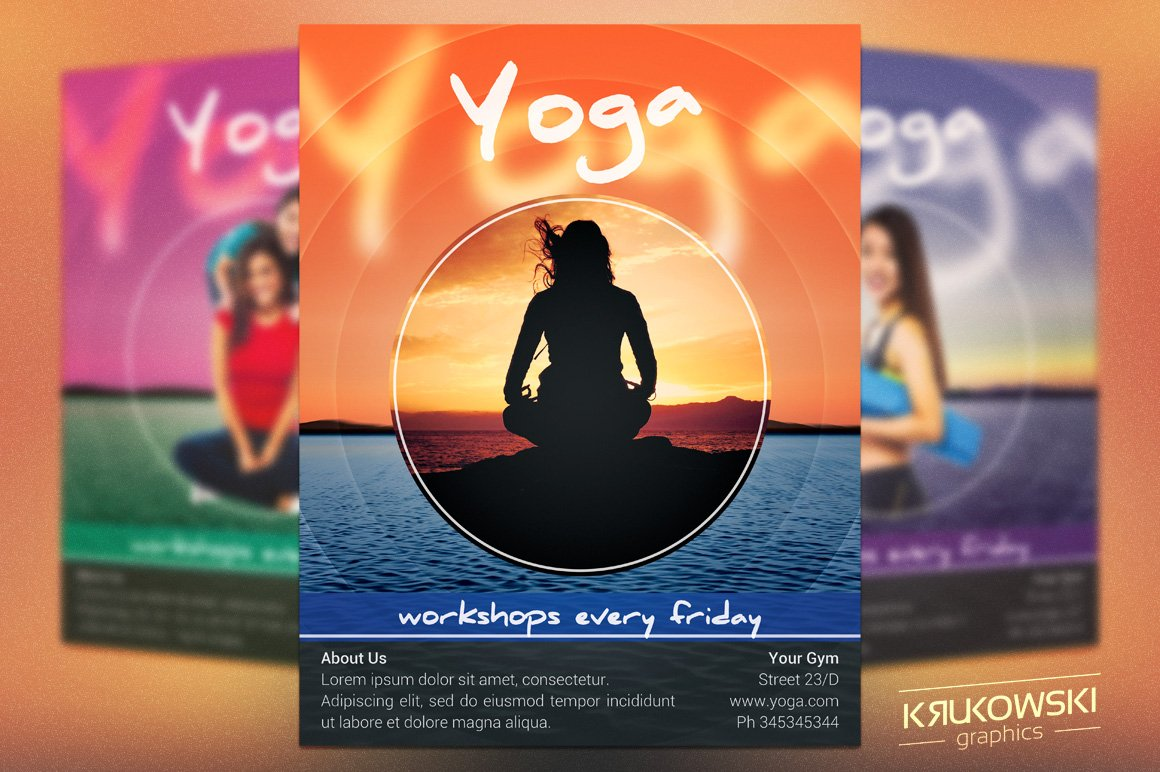 Yoga Workshops Flyer Template Templates Creative Market