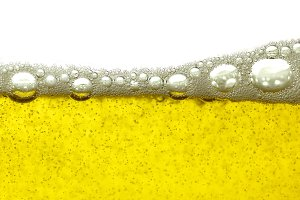 Yellow beer bubbles background