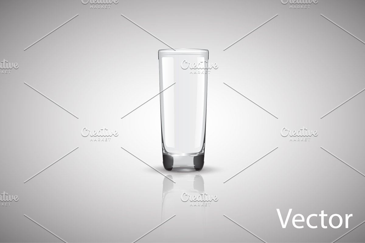 empty glass cup vector on a gray