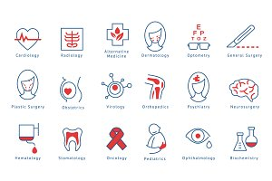 Medical direction vector icons