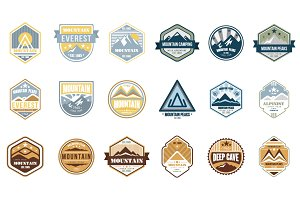 Mountain logo emblem set