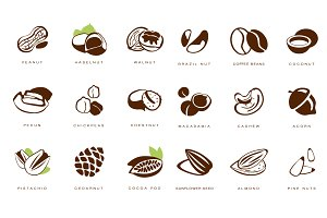 Nuts, Beans and Seed Icons