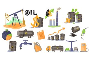 Oil Production Infographic Elements
