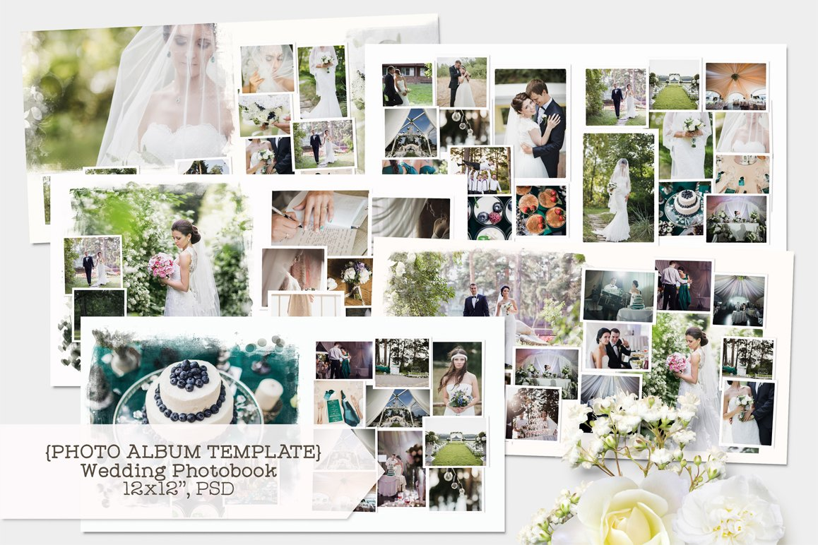 Wedding photobook template templates creative market for Wedding photo album templates in photoshop