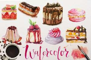 watercolor desserts collection