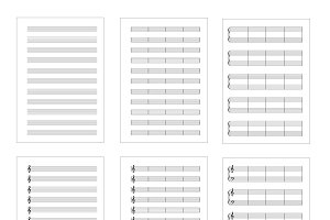 Set of six types music note grids