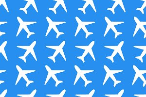 White plane icons on blue background