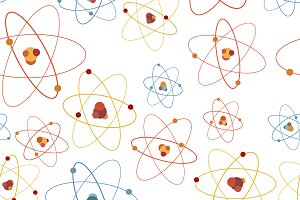 Colourful atom structure on white