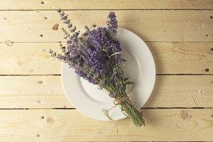 place setting, bouquet of lavender