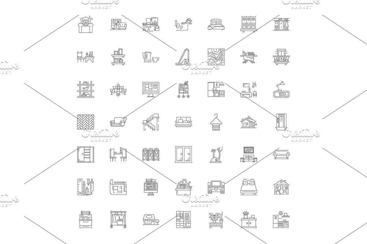 Interior design linear icons, signs