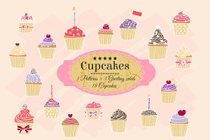 Hand-drawn cupcakes,patterns,cards.