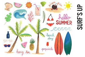 Surfing Beach Watercolor Clipart