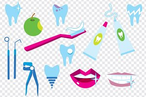 Vector tooth cleaning elements.