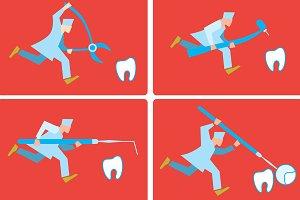 Dentist runs for a tooth.