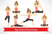 Yoga Various Poses Woman