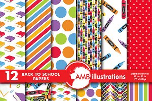 School Supply Digital Paper AMB-977