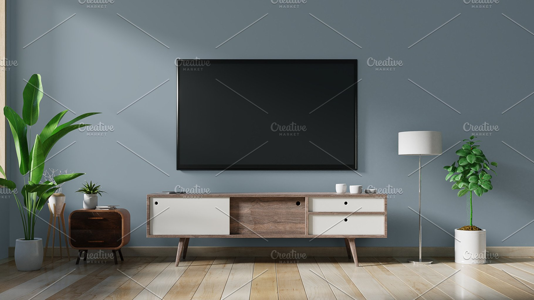 Smart TV on the dark blue wall