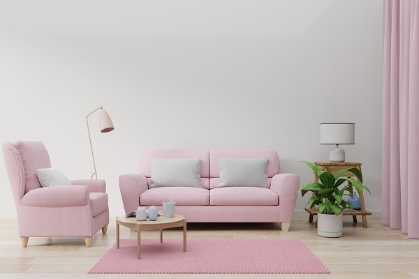 The pink sofa in the living room