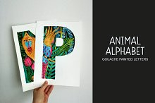 Animal alphabet. Painted letters.