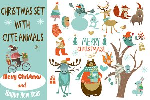 set with christmas animals