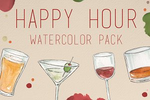 Watercolor Happy Hour Pack