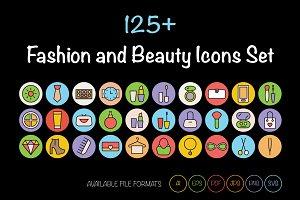125+ Fashion and Beauty Icons Set