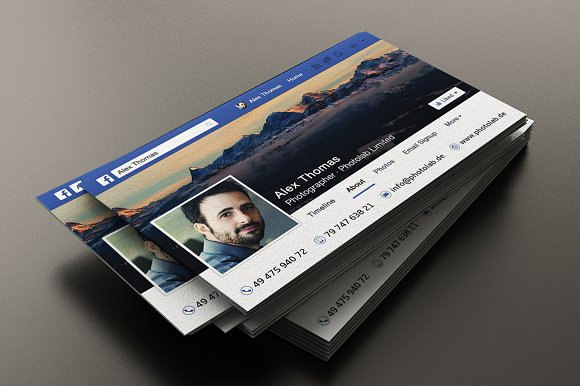 Facebook business card business card templates creative market fbccfo Images